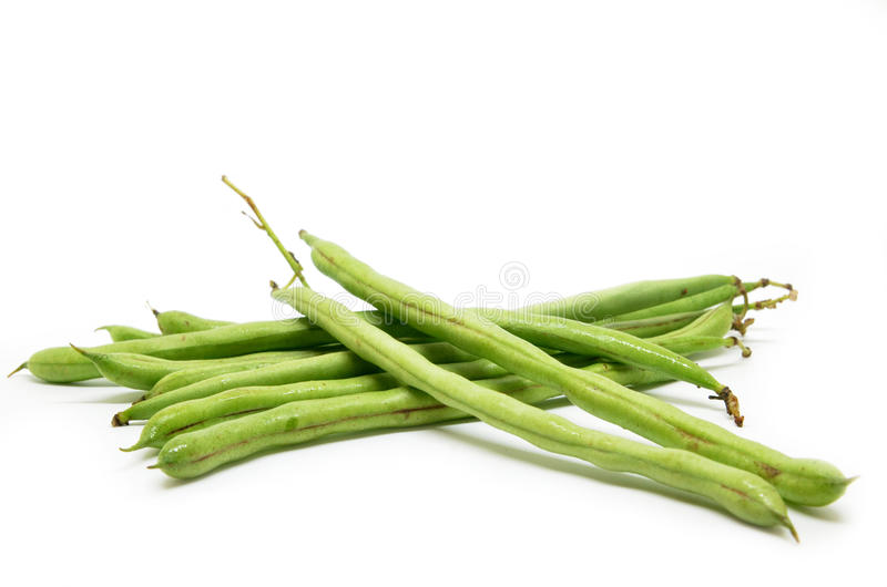 French green bean. String on white background stock image