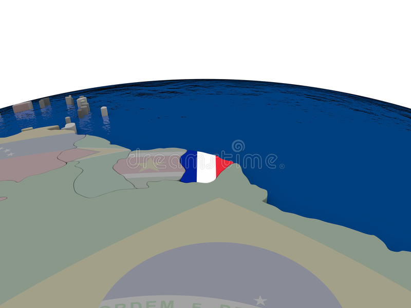 Download French Guiana with flag stock illustration. Illustration of diplomacy - 83717250
