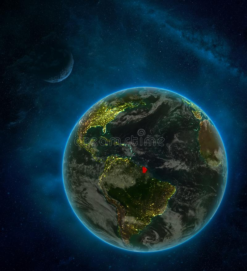 French Guiana from space on Earth at night surrounded by space with Moon and Milky Way. Detailed planet with city lights and. Clouds. 3D illustration. Elements stock illustration