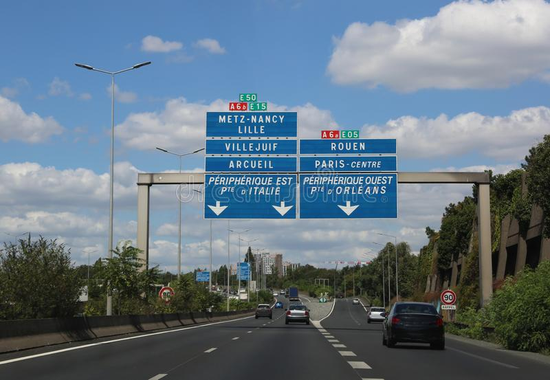 French Highway to Paris and more place in the traffic sign. French Highway to Paris in France and more place in the traffic sign royalty free stock photos