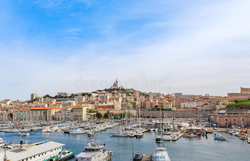 French historical city Marseille and Mediterranean sea coast. Marseille is the biggest port in France, South Europe. Famous large. City and tourist destionation royalty free stock photo