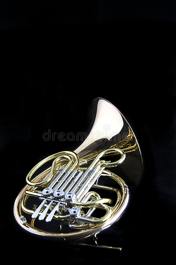 French Horn on Black stock photos