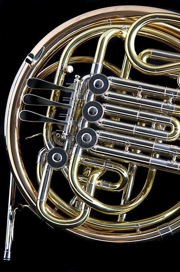 French Horn On Black Background Royalty Free Stock Photo ...