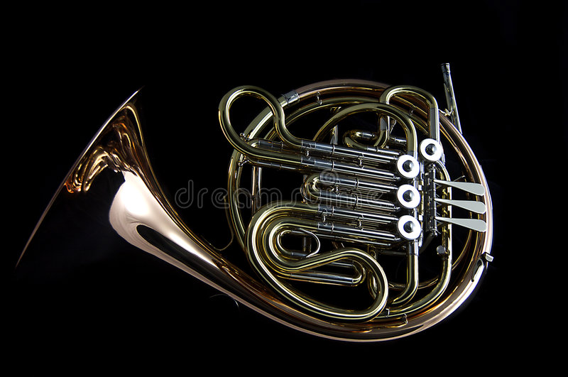 French Horn On Black Background Stock Photo - Image of ...