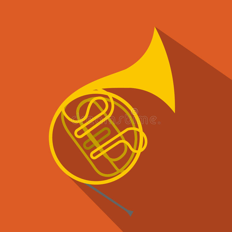 French horn flat icon. For web and mobile devices stock illustration
