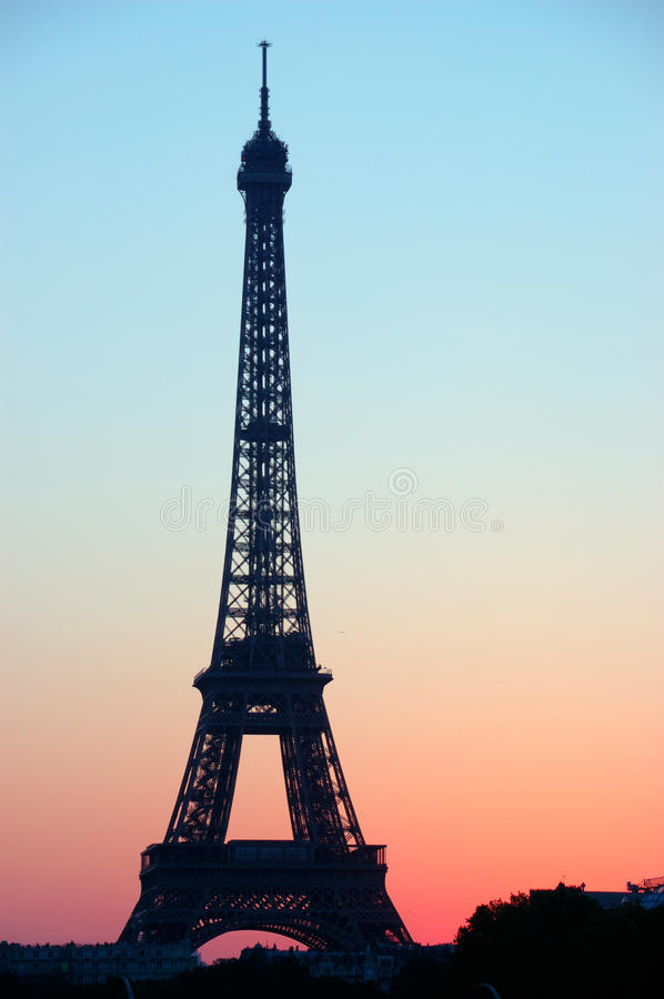 French icon. View of french icon with a degrade that nearly remind the french flag. the eiffel tower is among the most famous monuments in france, it was build stock photos