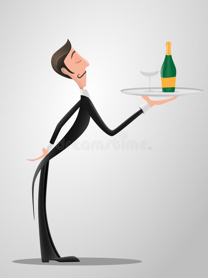 French or Italian Waiter wearing the uniform holding a dish of champaign bottle cartoon character. Fun flat cartoon vector illustration
