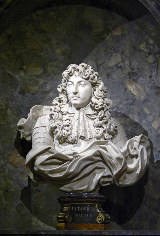 French king Louis XIV. The historical bust of king Louis XIV stock images