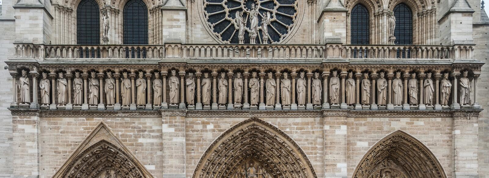 Facade of the Notre-Dame Our Lady cathedral of Paris, France royalty free stock photos