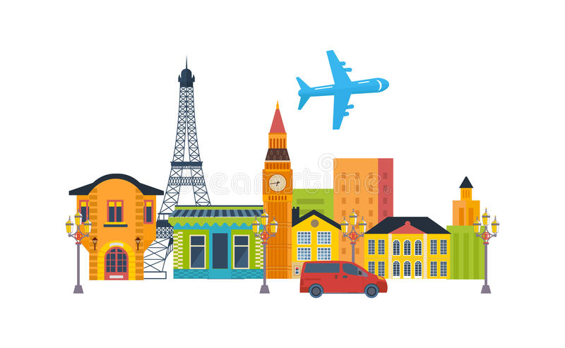 French Landmarks Travel To Europe Stock Vector Image - Travel to europe