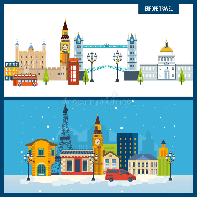 French Landmarks. Travel to Europe. London and Paris city. vector illustration