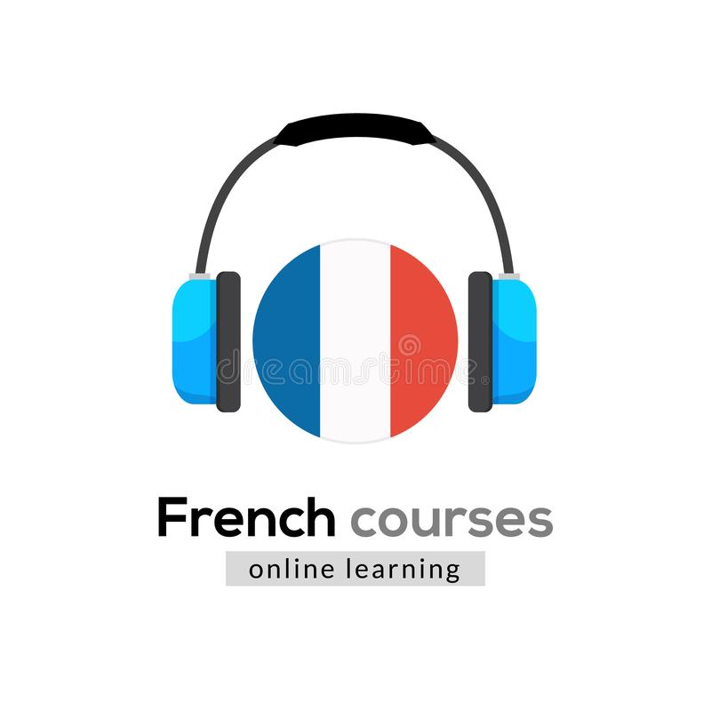 French language learning logo icon with headphones. Creative french class fluent concept speak test and grammar vector illustration