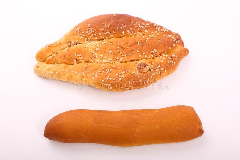 French loaf with bakery royalty free stock images