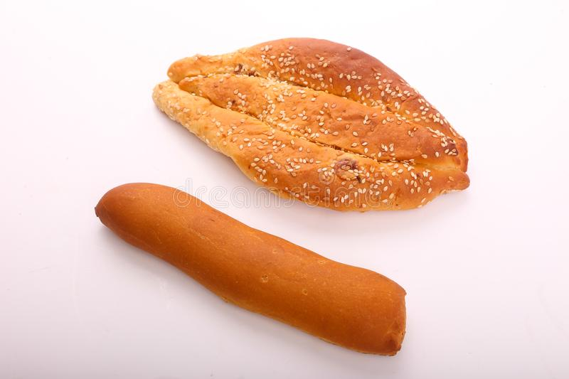 French loaf with bakery royalty free stock photography