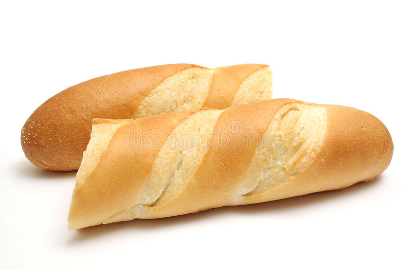 French loaf broken stock images