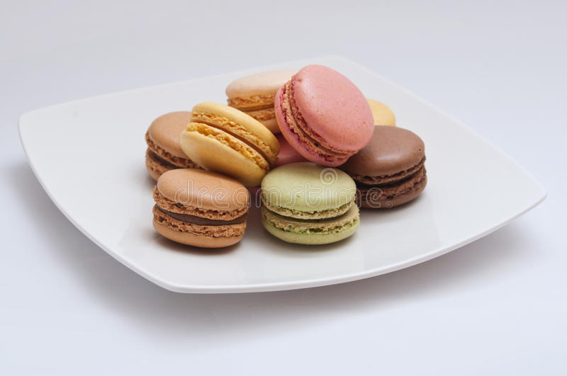 French macaron assortment. On white background stock photo