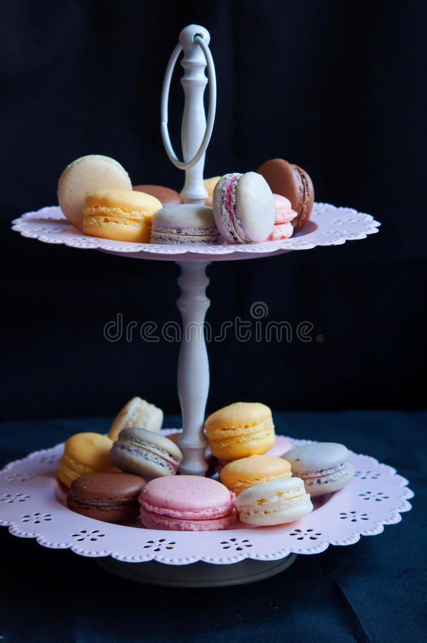 French Macarons On Cake Stand Royalty Free Stock Image