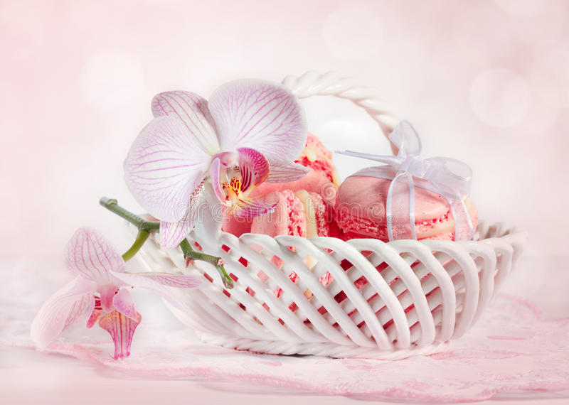 French macarons with orchid royalty free stock image