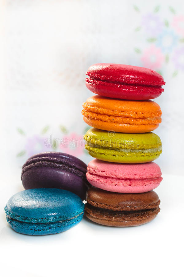 French macarons. Traditional many french colorful tasty macarons stock images