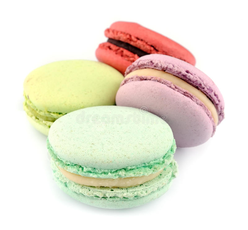 French macaroons. Dessert close up on white stock photos