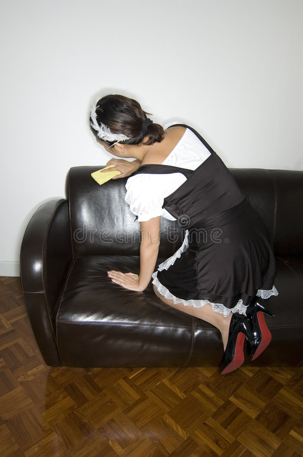 French maid cleaning stock images