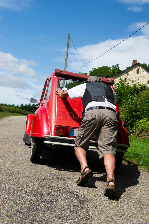 French Man With Car Break Down Royalty Free Stock Photography