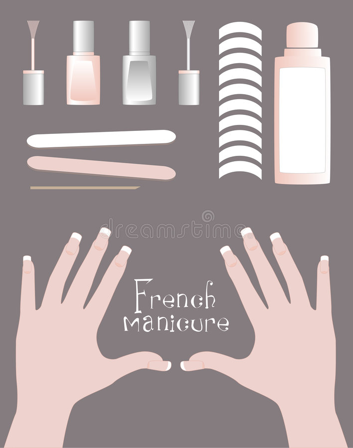 French manicure kit. Kit for french manicure, hand with french manicure stock illustration