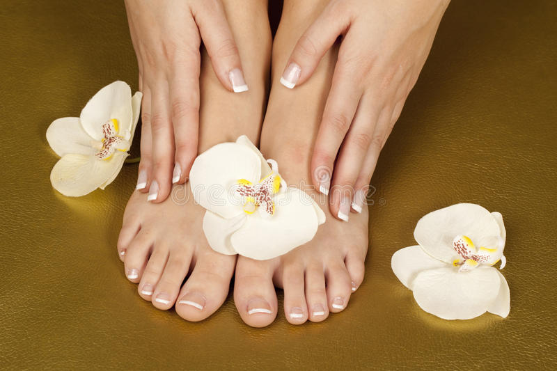 French manicure and pedicure royalty free stock image