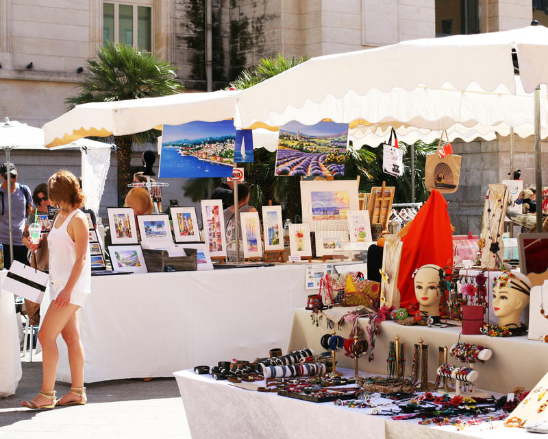 French market in Nice France. French market stalls in front of the Courts of Justice in Nice France royalty free stock images