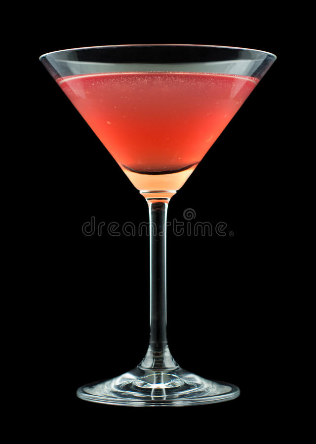French Martini cocktail. Consisting of vodka, raspberry liqueur and freshly squeezed pineapple juice. Isolated on black background stock photo