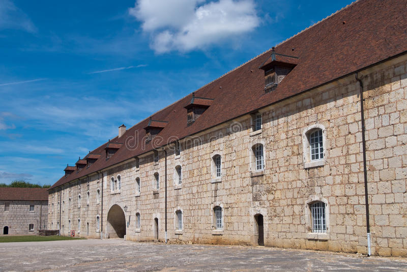 French medieval Fortress. Fortified Citadel in a French Medieval City royalty free stock image