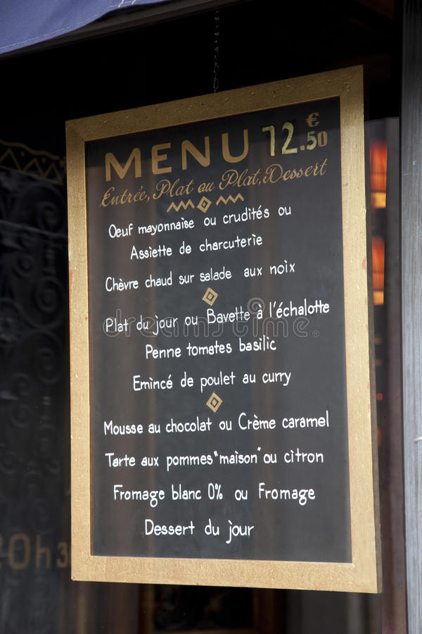 Free French Menu Royalty Free Stock Photo - 17788975