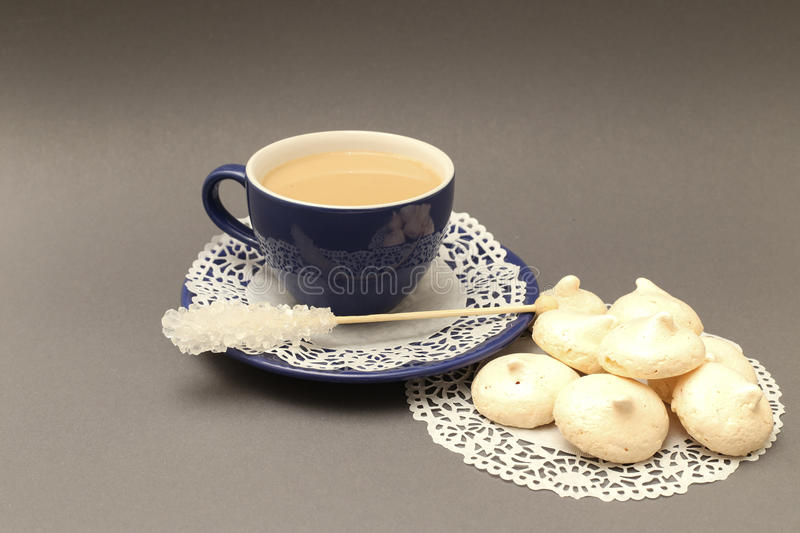 French meringue and coffee royalty free stock image