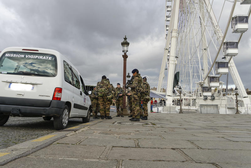 French military in a street of Paris stock photography