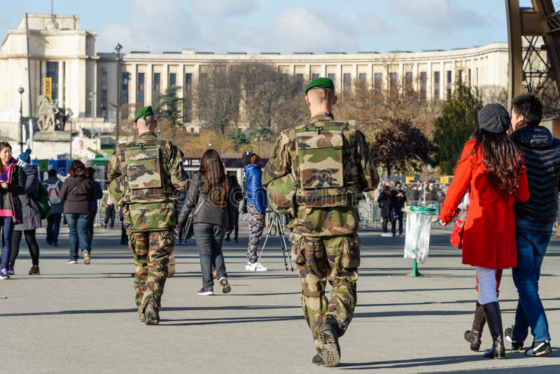 French military in a street of Paris stock image