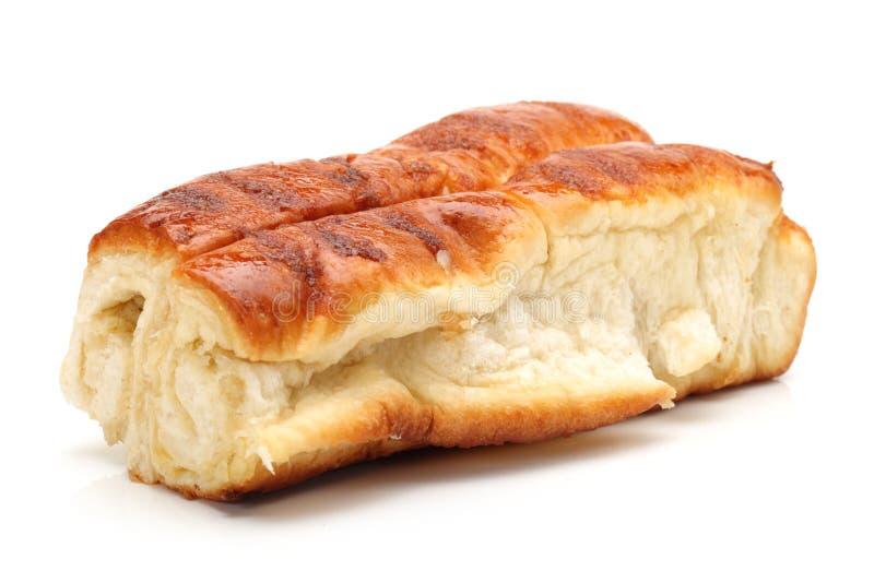 French milk bread, pain-au-lait, bun. On white background royalty free stock photos