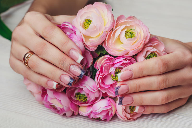 French Nail Art In Purple Color Stock Image Image Of Flowers