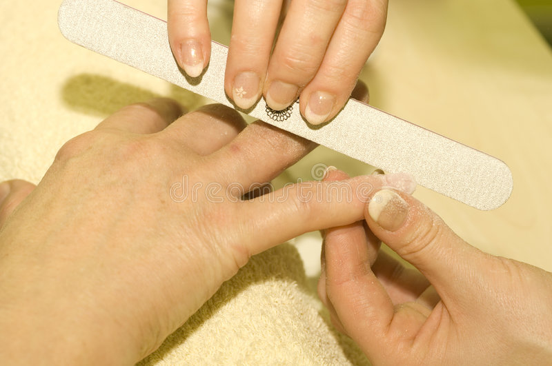 French Nail Manicure Closeup Royalty Free Stock Image