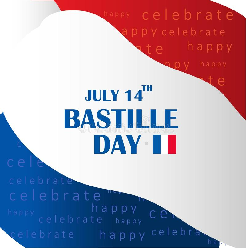 French National Day. 14 july. Happy Bastille Day! Flat banner in colors of the national flag of France for card and poster. Vector. French National Day. 14 july vector illustration