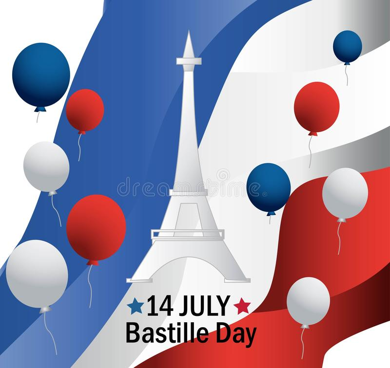 French National Day. 14 july. Happy Bastille Day! Flat banner in colors of the national flag of France for card and poster. Vector. French National Day. 14 july stock illustration
