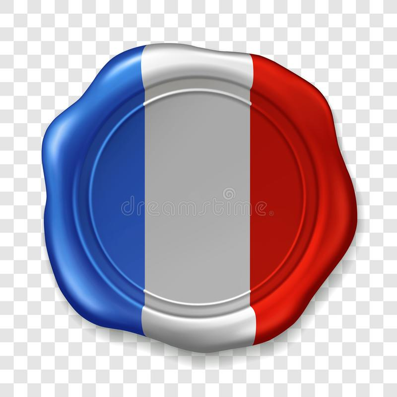 French national flag. Glossy wax seal. Sealing wax old realistic stamp label on transparent background. Top view. Label stock illustration
