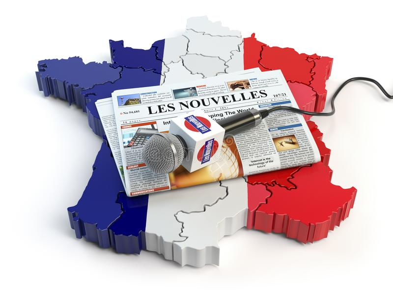 French news, press and journalism concept. Microphone and newsp. Aper with headline `Les nouvelles` french for: newson the map in colors of the flag of France royalty free illustration