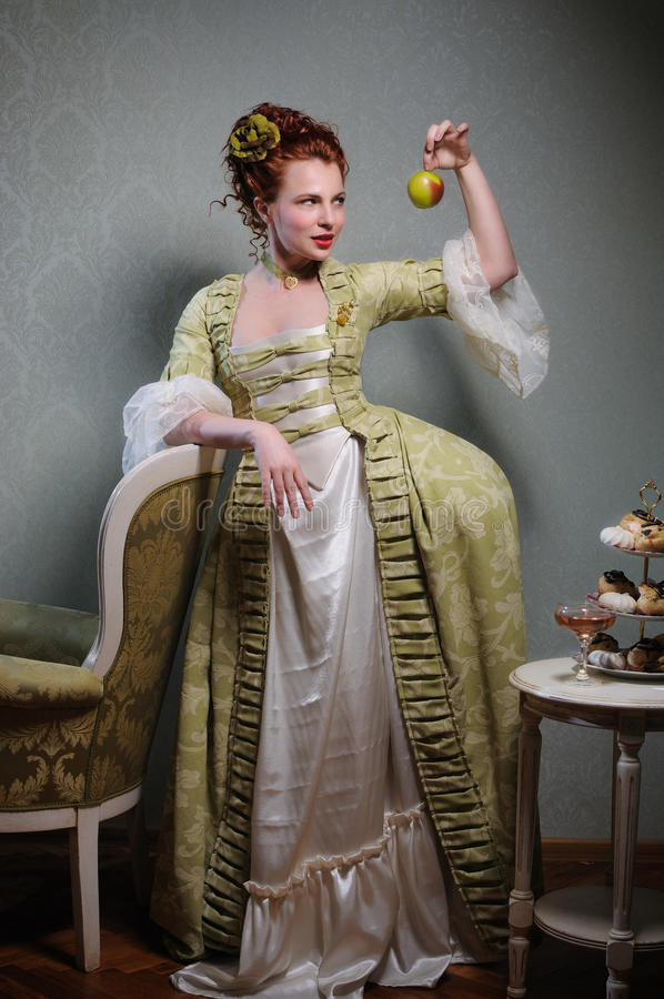 French Noblewoman with an Apple royalty free stock image