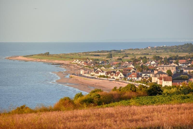 French Normandy coast village stock photo