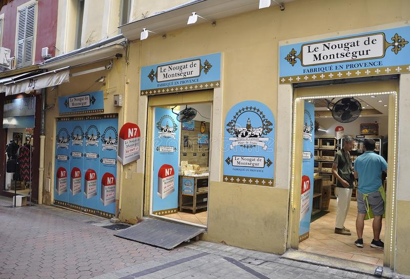 Nice, 5th september: Nougat Confectionary shop exterior in the Old Town of Nice of France royalty free stock photos