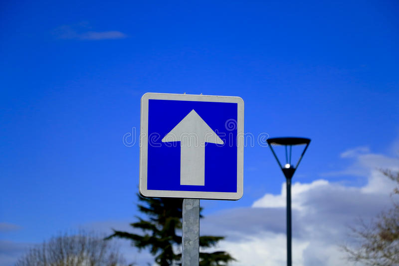 French One way only road sign stock images