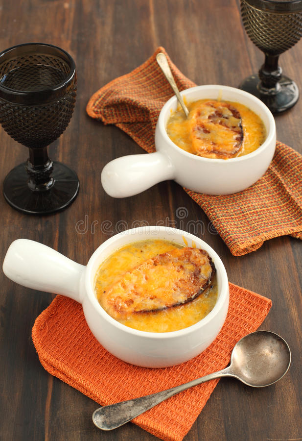 French onion soup. In bowls stock image