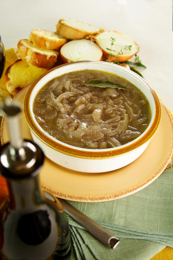 French Onion Soup. Freshly prepared with cheese toast ready to serve stock photo