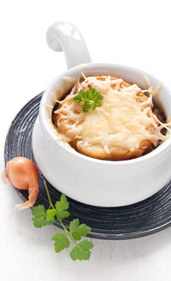 French onion soup. In the white bowl royalty free stock photography