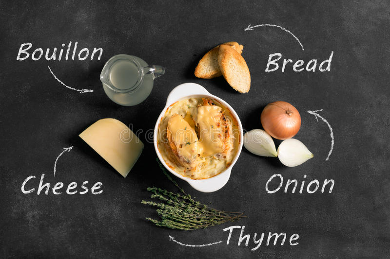 French onion soup on the black backgrouns. French onion soup on the black background with inscriptions of ingredients royalty free stock photography